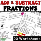 Adding & Subtracting Fractions No Prep 20 Worksheets TEKS 4.3E