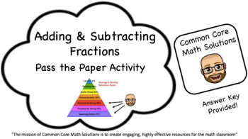 Adding & Subtracting Fractions – Pass the Paper (Cooperati