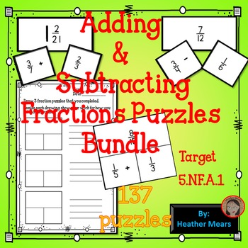 Adding Subtracting Fractions Puzzles
