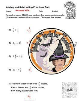 Adding & Subtracting Fractions QUIZ with KEY Add Subtract Fractions