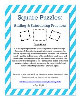 Adding & Subtracting Fractions: Square Puzzles