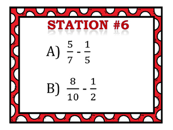 Adding & Subtracting Fractions Stations