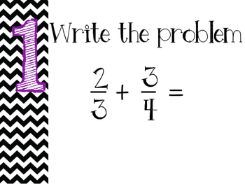 Adding/Subtracting Fractions Steps Posters (Purple)