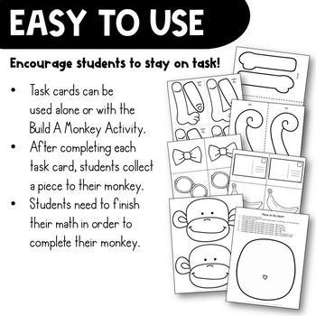 Adding & Subtracting Fractions Task Card Math Center & Monkey Activity 4th Grade