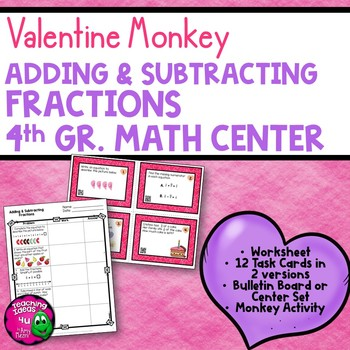 Adding & Subtracting Fractions Task Card Math Center & Mon