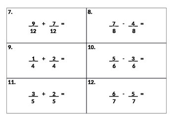 Adding/Subtracting Fractions Task Cards