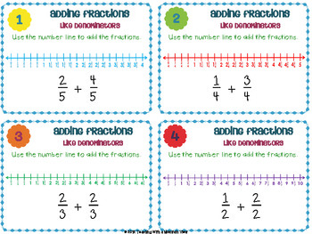 Adding & Subtracting Fractions Task Cards { Add & Subtract LIKE ...
