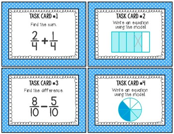 Adding & Subtracting Fractions Task Cards English/Spanish