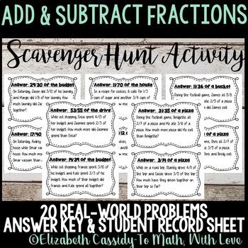 Adding & Subtracting Fractions-Task Cards--Scavenger Hunt-Fraction Game