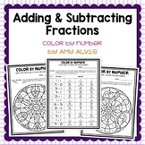 Adding Subtracting Fractions Thanksgiving Color by Code
