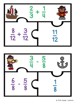 Adding & Subtracting Fractions Unlike Denominator 5th Grade Fraction Game 5.NF.1