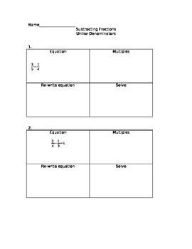 Adding/Subtracting Fractions Worksheets