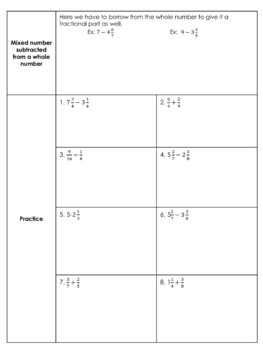 Adding & Subtracting Fractions and Mixed Numbers Guided Notes & Scavenger Hunt