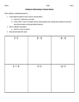 Adding & Subtracting Fractions (like & unlike) Notes