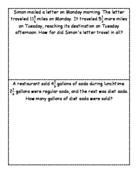 Adding/Subtracting Fractions (unlike denominators) problem solving task cards