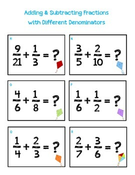 Adding & Subtracting Fractions with Different Denominators File Folder Game