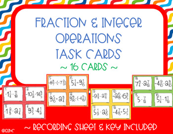 Adding & Subtracting Fractions with Integer Operations Task Cards