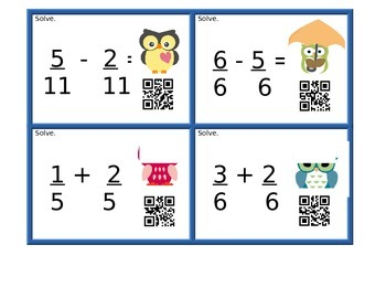 Adding / Subtracting Fractions with Like Denominators (QR Codes)