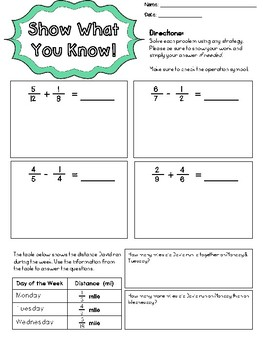 Adding & Subtracting Fractions with Unlike Denominators