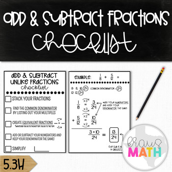 Adding & Subtracting Fractions with Unlike Denominators: Checklist! (GRADES 4-6)