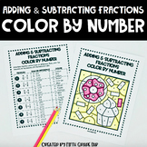 Adding & Subtracting Fractions with Unlike Denominators Color by Number