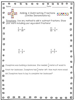 Adding & Subtracting Fractions with Unlike Denominators (Equivalent Fractions)