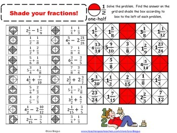 Adding, Subtracting Fractions with Unlike Denominators Fun Activity