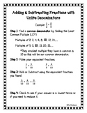 Adding & Subtracting Fractions with Unlike Denominators St