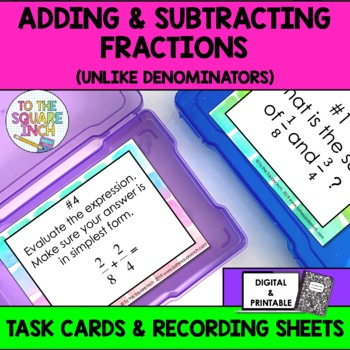 Adding & Subtracting Fractions with Unlike Denominators Task Cards