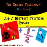 Adding / Subtracting Fractions (with uncommon Denominators) Escape Room