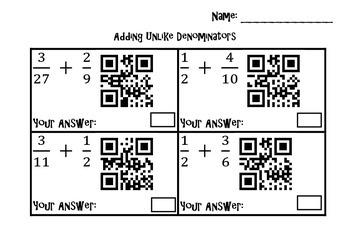Adding & Subtracting Fration QR Codes