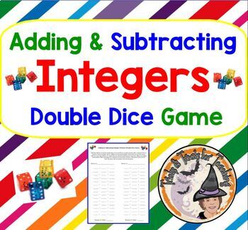 Adding Subtracting INTEGERS Double Dice Partners GAME Activity Add Subtract
