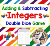 Adding and Subtracting INTEGERS GAME Double Dice Partners Activity