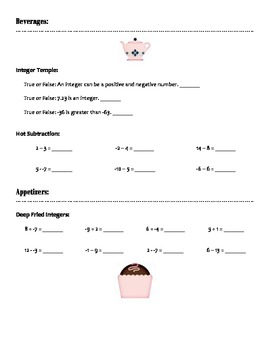 Adding & Subtracting Integer Bistro Menu Activity