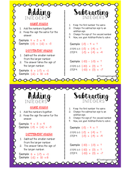 Adding & Subtracting Integer Rules - Visual
