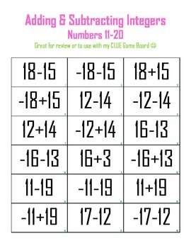 Adding & Subtracting Integers 11-20 - Clue Game Cards
