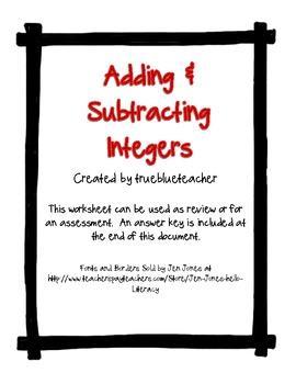 Adding & Subtracting Integers