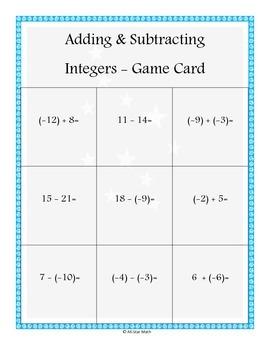 Adding & Subtracting Integers 2