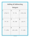 Adding & Subtracting Integers 2