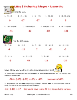 Adding & Subtracting Integers ~ 20 Problems with Answer Key