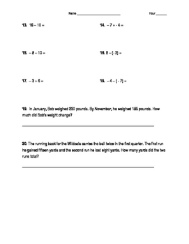 Adding & Subtracting Integers Worksheet/Homework 7.NS.1