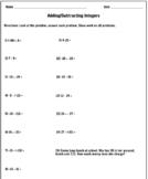 Adding/Subtracting Integers