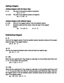 Adding & Subtracting Integers Cheat Sheet
