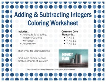 Adding & Subtracting Integers Coloring page - 7.NS.1, 7.NS.1b, 7.NS.1c