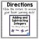 Adding & Subtracting Integers Digital Boom Flash Cards