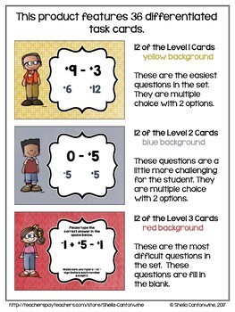 Adding and Subtracting Integers Digital Task Cards - BOOM Cards