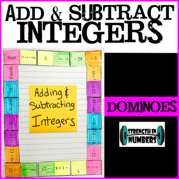 Adding Subtracting Integers Dominoes Puzzle for Interactive Notebooks