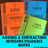 Adding & Subtracting Integers Foldables