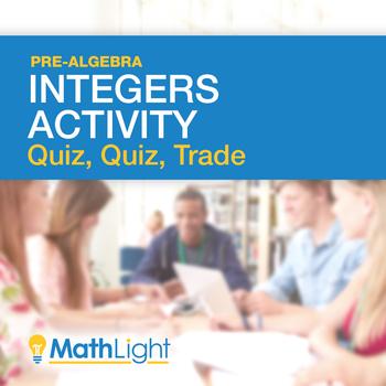 Adding & Subtracting Integers Group Activity: Quiz, Quiz Trade