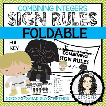 Adding/Subtracting Integers INB Foldable